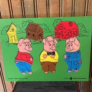 Three Pigs 12 pcs Wooden Puzzle 1979